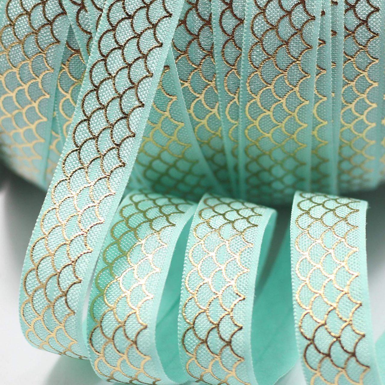Gold and Teal Mermaid Ribbon