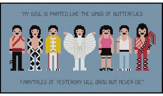 Freddie Mercury cross stitch pattern